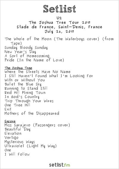 U2 Setlist 7/25/17