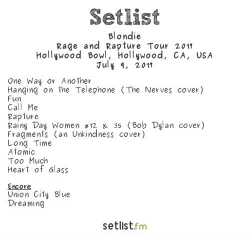 Blondie setlist – By Setlist.fm