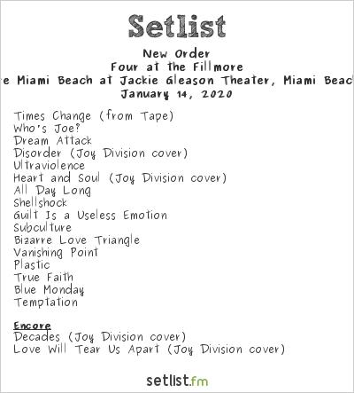 New Order Kickoff 2020 Four Night Miami Residency With 15 Songs Setlist Fm Aprenda a tocar essa música usando as cifras, tablaturas e versão simplificada com o cifras. new order kickoff 2020 four night miami
